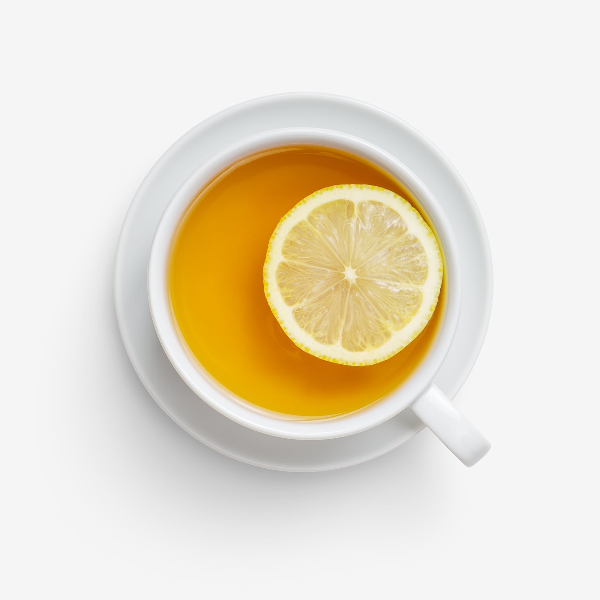 Clean Isolated PSD image of Tea with lemon on transparent background with separated shadow