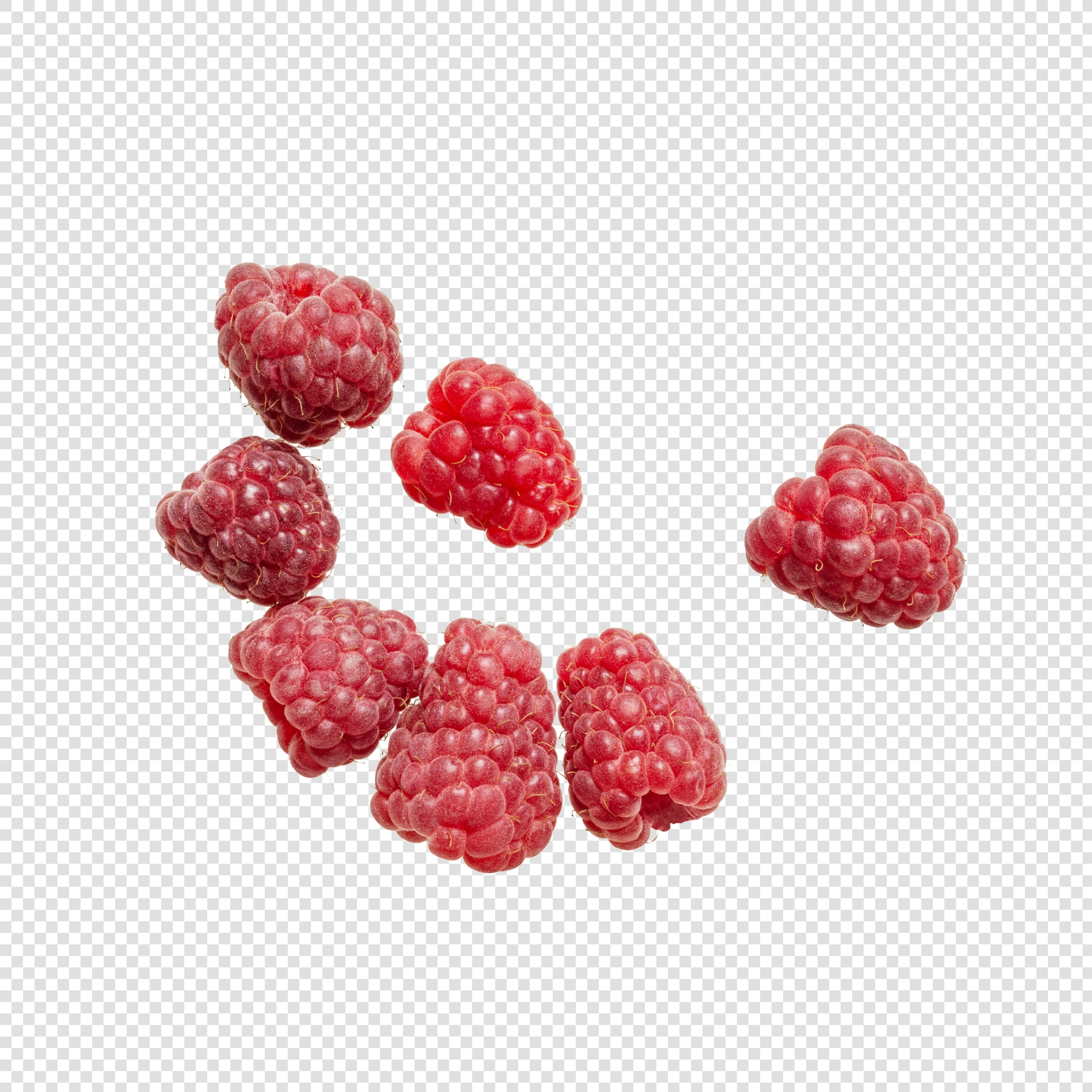 Clean Isolated PSD image of Raspberry on transparent background with separated shadow