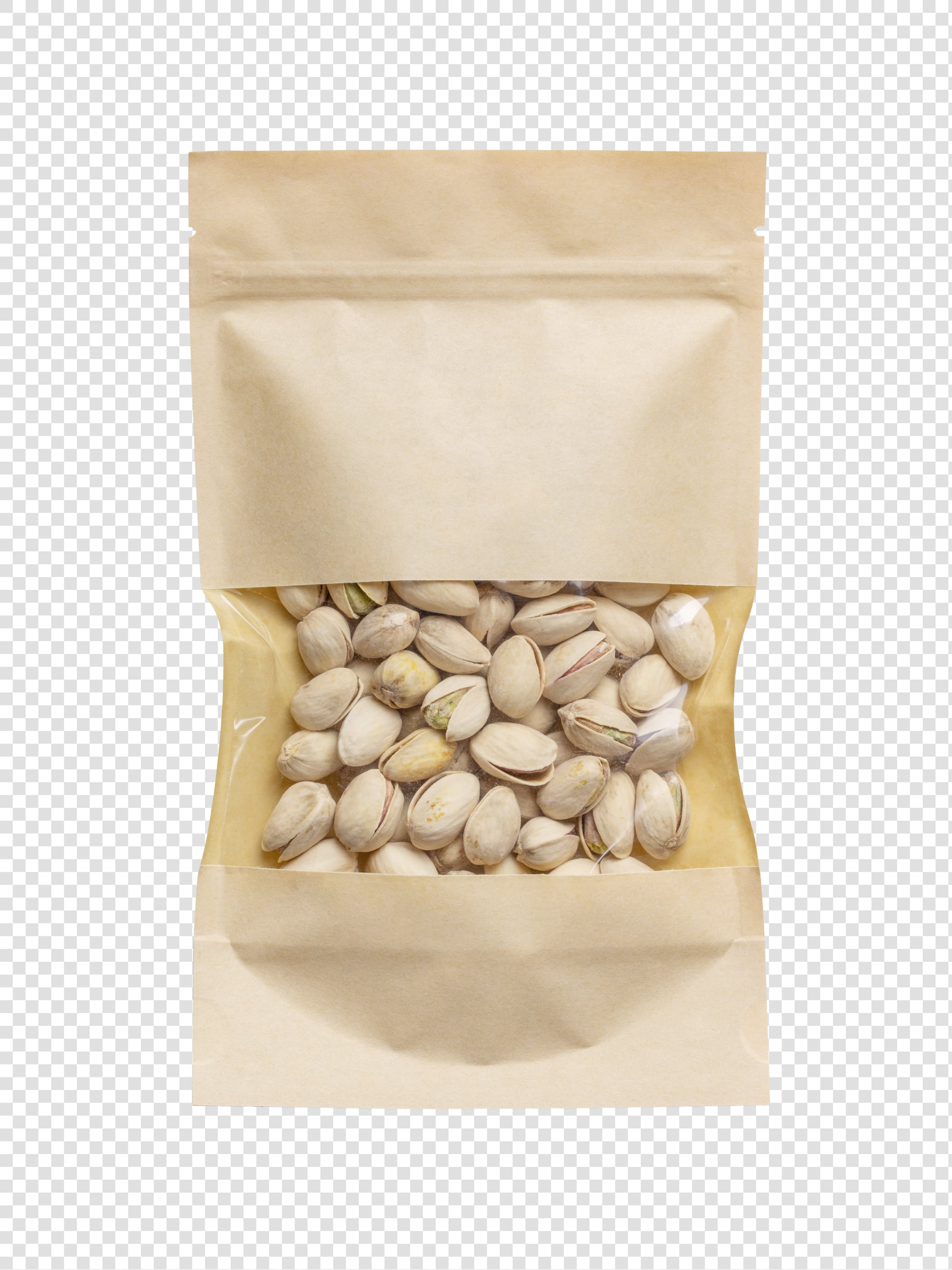 Clean Isolated PSD image of Package of pistachios on transparent background with separated shadow