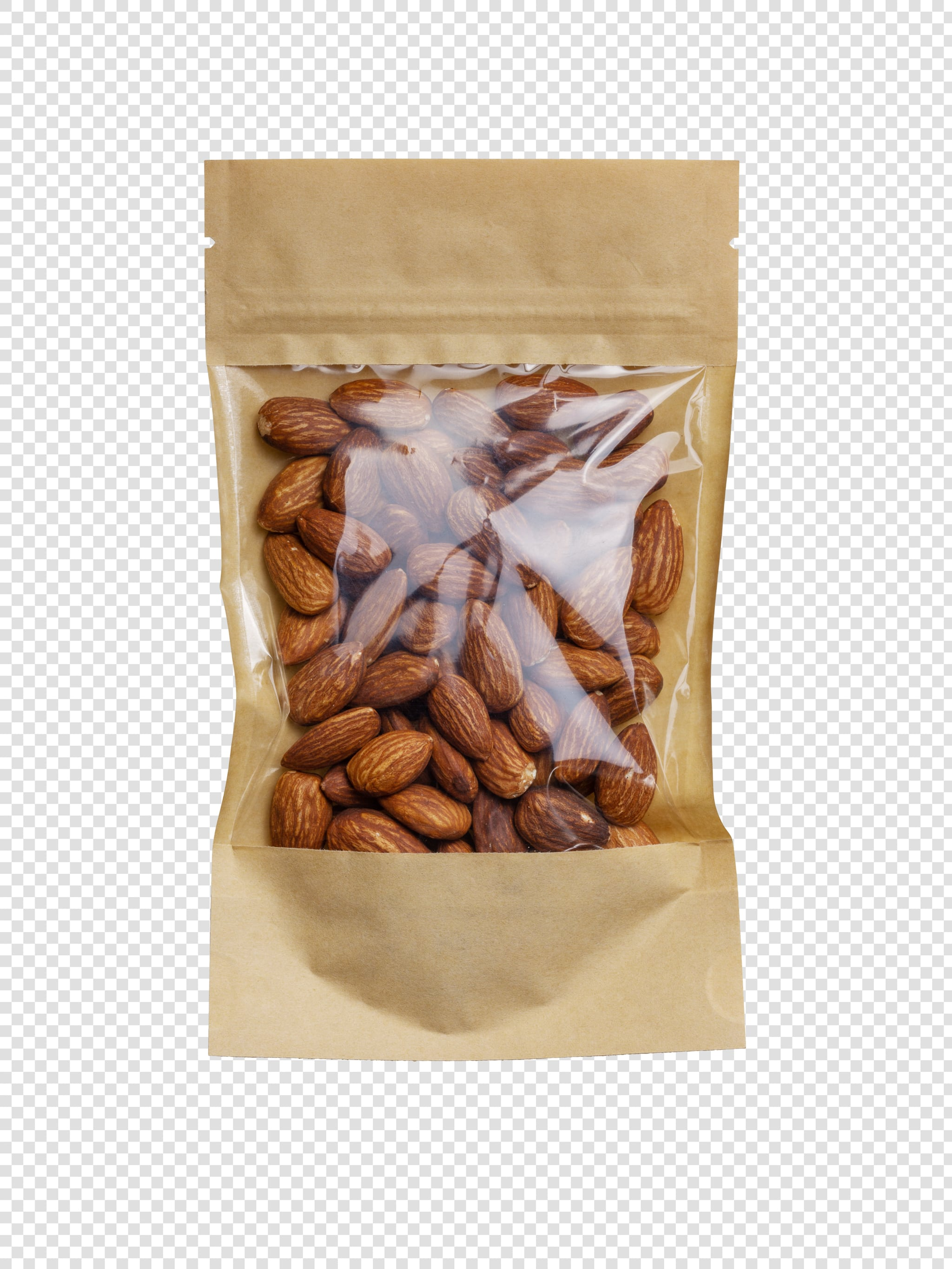 Clean Isolated PSD image of Pack of almonds on transparent background with separated shadow
