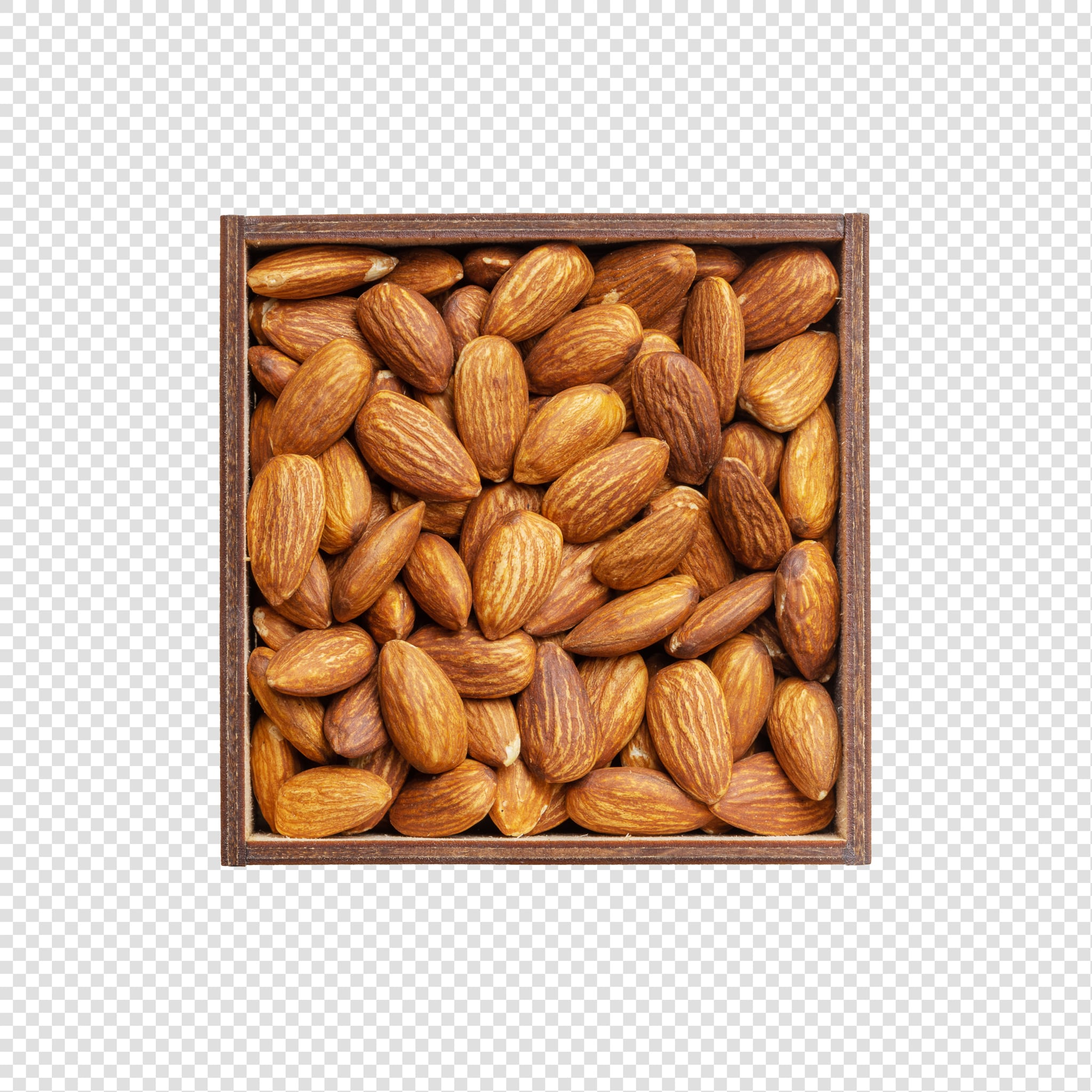 Clean Isolated PSD image of Box of almonds on transparent background with separated shadow