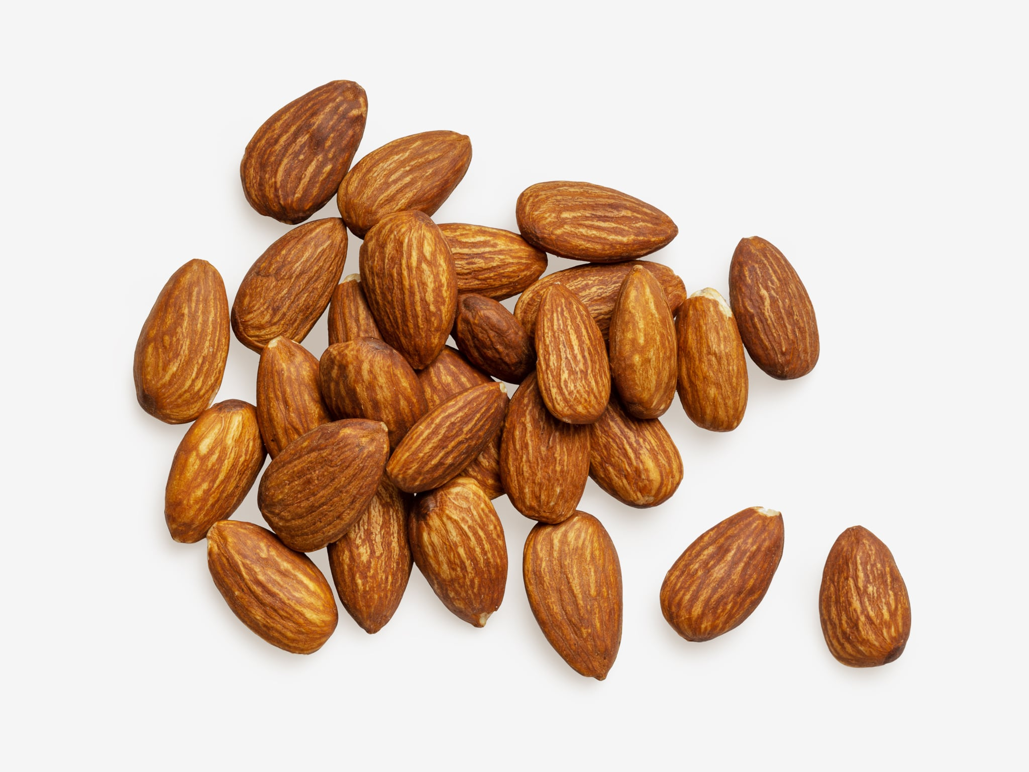 Clean Isolated PSD image of Almonds on transparent background with separated shadow