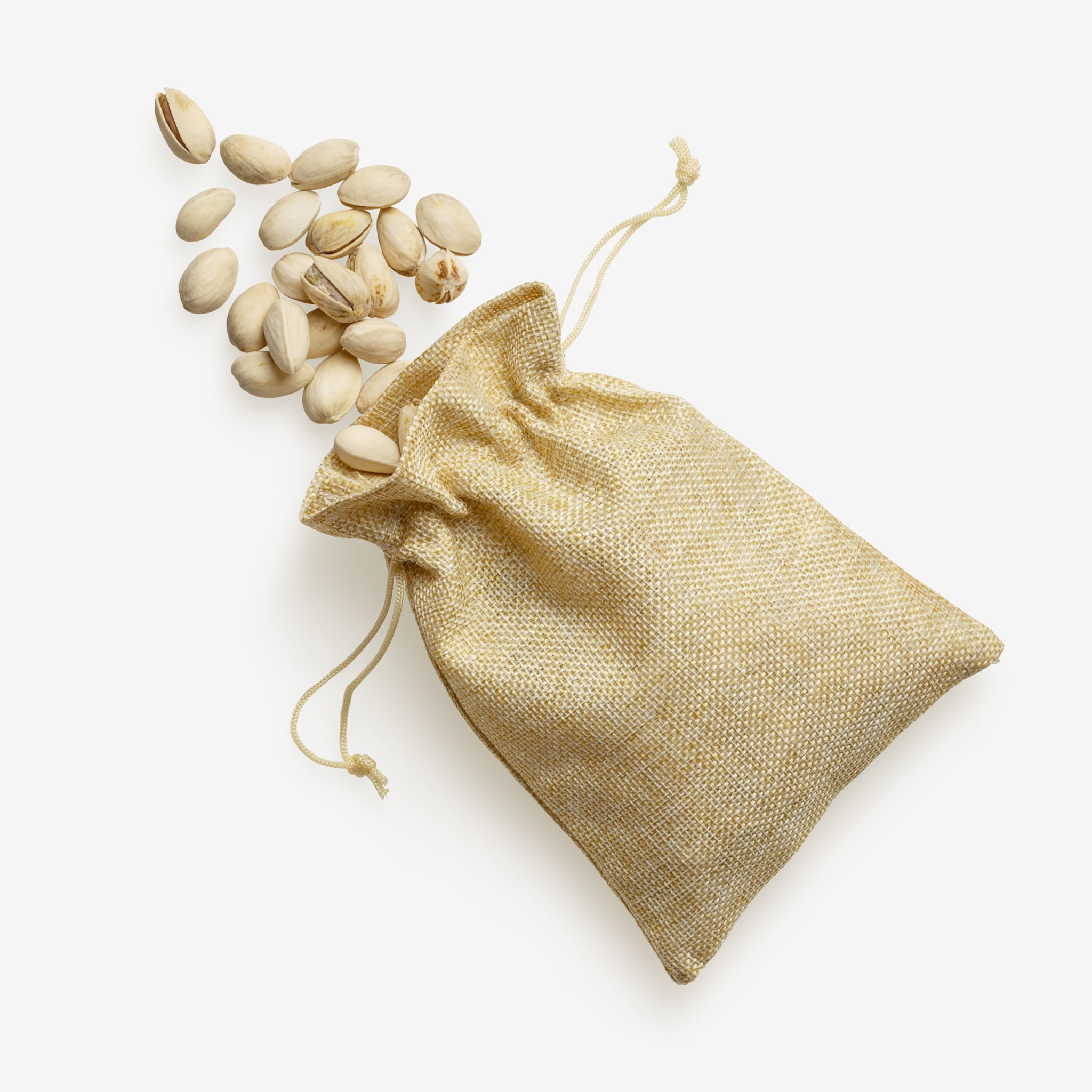 Bag of pistachios PSD image on transparent background